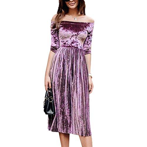 Toimothcn Womens Off Shoulder Velvet Dress Ladies Evening Party Loose Dress(Purple,M)