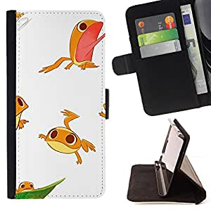 Jordan Colourful Shop - Frog White Cute Kids Funny Character For Apple Iphone 5C - Leather Case Absorci???¡¯???€????€????????&c