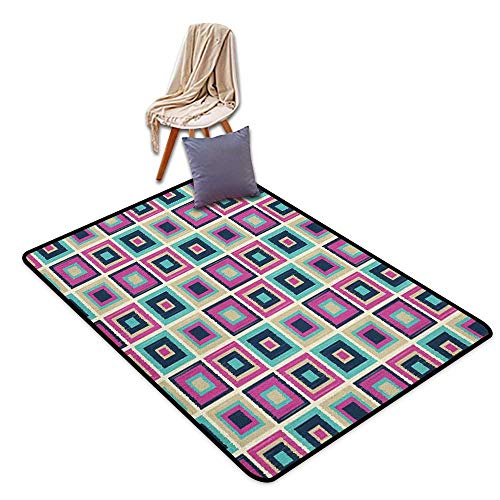 Interior Door Rug Bathroom Rug Slip Navy and Teal Pastel Colored Geometric Pattern with Squares Nostalgic Vintage Mosaic Design Outside The Door Rug W6'xL7'