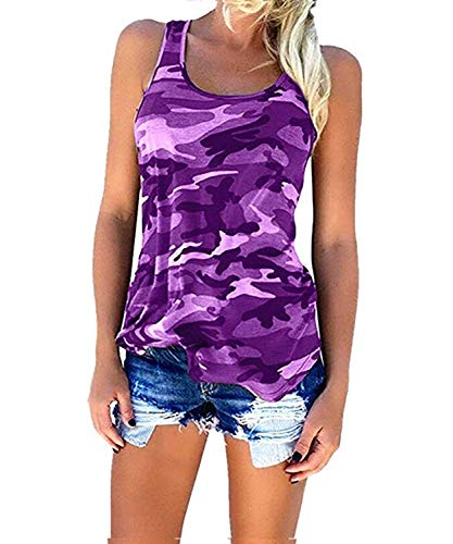 Moon Angle Womens Long Sleeve T-Shirts Casual Camouflage Printed O-Neck Tops Plus Size (XL, 0288 Purple) ()