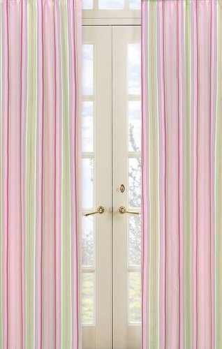 Sweet Jojo Designs 2-Piece Pink and Green Jungle Friends Stripe Window Treatment Panels