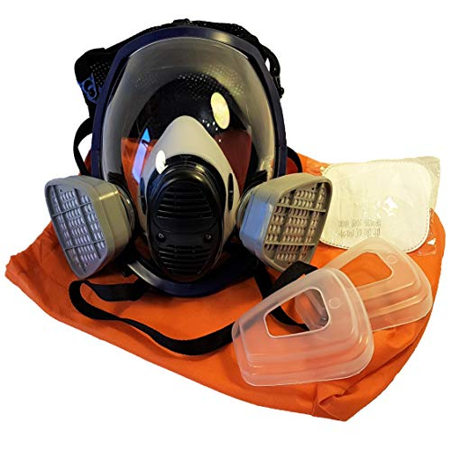 WiseLime Organic Full Face Respirator Mask for Chemicals, Smoke, Paint Spray and Tear Gas, Industrial Grade Quality Gas Mask including 2 Filters (Gas Mask + 1 Pair of #3 Filter Cartridges) by WiseLime (Image #7)