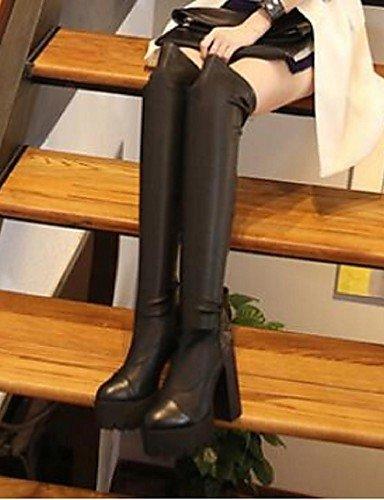 Mujer Cn39 Negro us8 Casual Xzz Punta De Tacón Uk6 Robusto Cerrada Eu39 Black Botas Zapatos Sintético fvZqE
