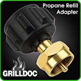 Propane Refill Adapter - Safest QCC1 Regulator Valve Propane Refill Adapter for Steel Propane Cylinder With Type 1 Onlyfire- Fits All 1 LB Throwaway Disposable Cylinder by Grill Doc