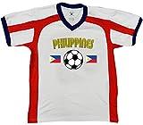 Philippines Soccer / Football and Flag Men's Soccer Style Sport T-Shirt, Amdesco, White/Red/Navy XL