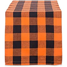 DII Cotton Buffalo Check Table Runner for Family Dinners or Gatherings, Indoor or Outdoor Parties, Halloween, Everyday Use (14x72, Seats 4-6 People), Orange & Black