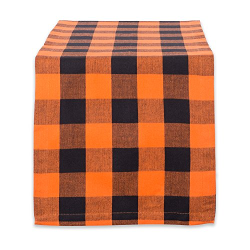 Orange Halloween Garland - DII Cotton Buffalo Check Table Runner for Family Dinners or Gatherings, Indoor or Outdoor Parties, Halloween, Everyday Use (14x72, Seats 4-6 People), Orange & Black