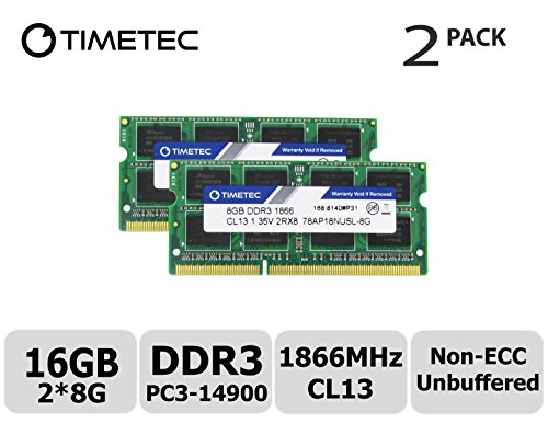 Timetec Hynix IC 16GB Kit (2x8GB) DDR3L 1866MHz PC3-14900 Unbuffered Non-ECC 1.35V CL13 2Rx8 Dual Rank 204 Pin SODIMM Apple Memory RAM Module Upgrade (16GB Kit (2x8GB))
