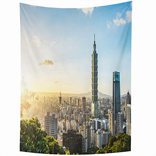 (Ahawoso Tapestry 50x60 Inches Taipei Taiwan Oct Known World Financial Center is Skyscraper Tower Wall Hanging Home Decor Tapestries for Living Room Bedroom Dorm)