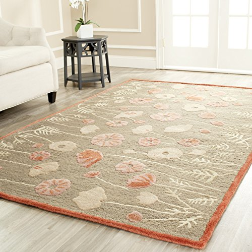- Safavieh Martha Stewart Collection MSR3627B Premium Wool and Viscose Poppy Glossary Cayenne Red Area Rug (5' x 8')