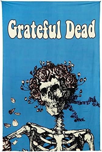 Sunshine Joy Grateful Dead Bertha Skull and Roses Tapestry Tablecloth Wall Art Beach Sheet Huge 60×90 Inches