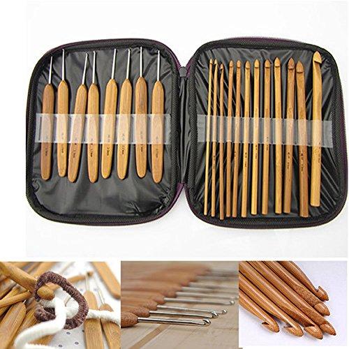 Totoo 20 Pcs Bamboo Crochet Hooks Set Ergonomic Knitting Hooks with Compact Carry Case