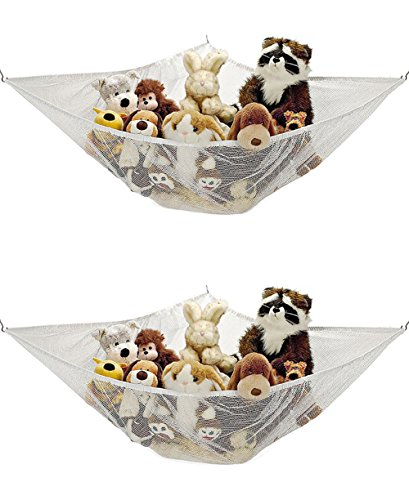 Toy Hammock Stuffed Animal Toy Hammock Toy Organizer Storage Net - 5.9×3.9×3.9 feet,White - Great to Organizing Kid's Toys, Decorate the Room and Keeping Rooms Clean ()