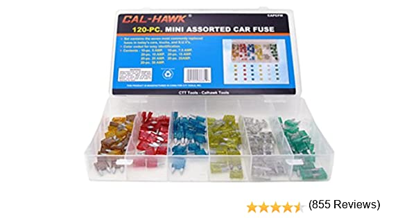 Cal-Hawk CAPCFM Assorted Car Truck Mini Fuse 5,7.5,10,15,20,25,30 Amp by Cal-Hawk: Amazon.es: Coche y moto