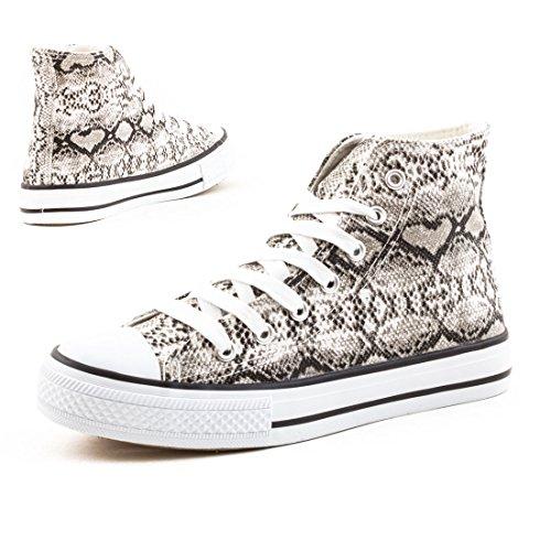 Damen High Top Turnschuhe Sneaker Textil Canvas Schuhe Schwarz Schlangenprint