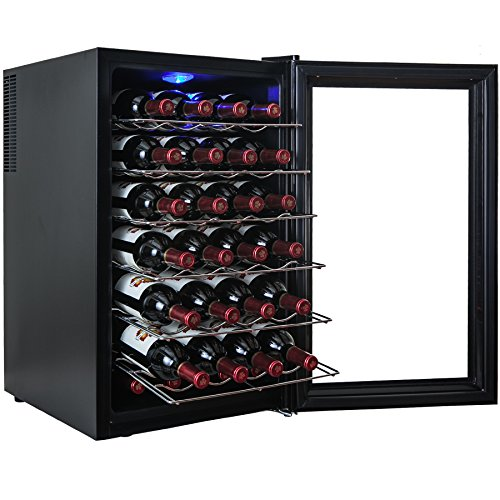 AKDY¨ 28 Bottle Single Zone Thermoelectric Freestanding Wine Cooler Cellar Chiller Refrigerator Fridge Quiet Operation
