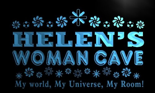 x2015-tm Helen's Woman Cave Room Custom Personalized Name Neon Sign