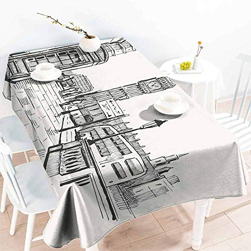 HCCJLCKS Rectangular Tablecloth Modern London City with Big Ben Monument Scene in Sketch Style British Famous Town Artwork Party W70 xL102 Beige Black ()