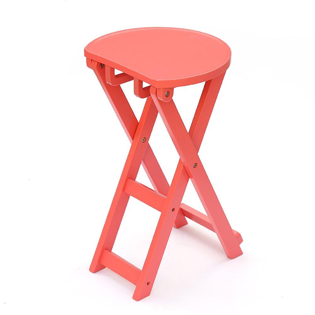 WSSF- ポータブル折りたたみソリッドウッドスツールチェストベンチキッチン朝食ダイニングスツール多機能ホームガーデンキャンプピクニック釣りスツールFoldable高66cm (色 : Pink) B07DQFTPXD Pink Pink