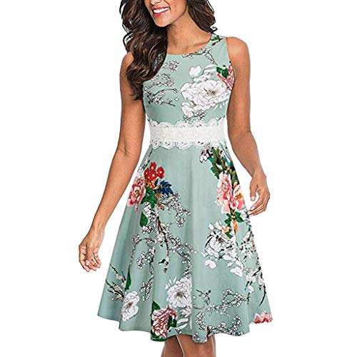TWGONE A Line Cocktail Dresses For Women Evening Sleeveless Print Embroidery Party Wedding Guest Dress(Large,Green)