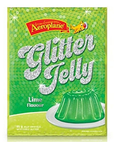 Jello Lime Green Mix with Edible Glitter Including Jello Recipes Ebook - Made by Aeroplane Jelly in Australia - Birthdays, Weddings, Baby Showers, Molds, Cups, Shots - Vegans - Servings Per Package: 4