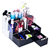 Newslly Large Acrylic Makeup Organizer 3 Black Drawers Cosmetic Jewelry Storage Display Box with 5 Compartments for Bedroom Countertop Vanity Storage