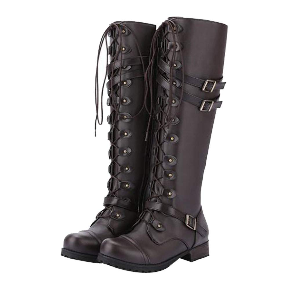 botas mujer invierno,BBestseller Hebilla de cinturón con remache redondo cuadrado con botas de mujer de tubo alto: Amazon.es: Ropa y accesorios