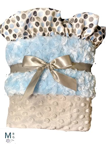 nalized Minky Dot Baby Blanket Blue Gray Polka Dot (Bebe Rosette)