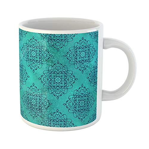 - Semtomn Funny Coffee Mug Baroque Golden Shiny Blue Damask Pattern Abstract Shapes Border 11 Oz Ceramic Coffee Mugs Tea Cup Best Gift Or Souvenir