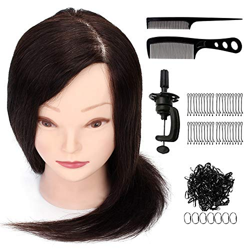 Tfmox Training Head Real Human Hair 16'' Hairdressing Mannequin Head Dummy Doll Salon Styling Practice + Clamp Hair Tool Hairstyles Doll
