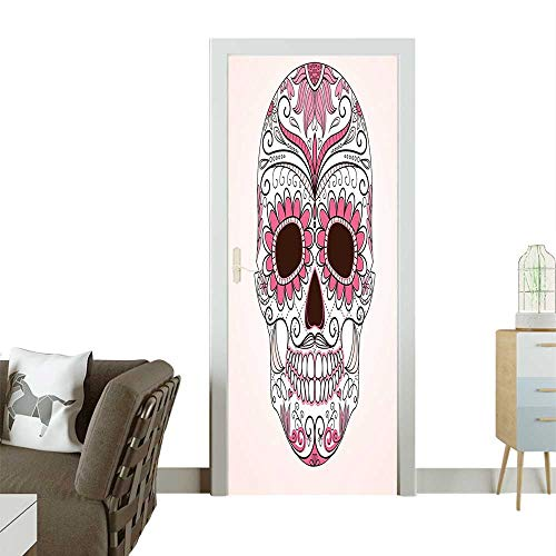 Homesonne Door Sticker Wallpaper Mexican Ornaments Calavera Catr a spired Macabre Light Fashion and Various patternW32 x H80 INCH -