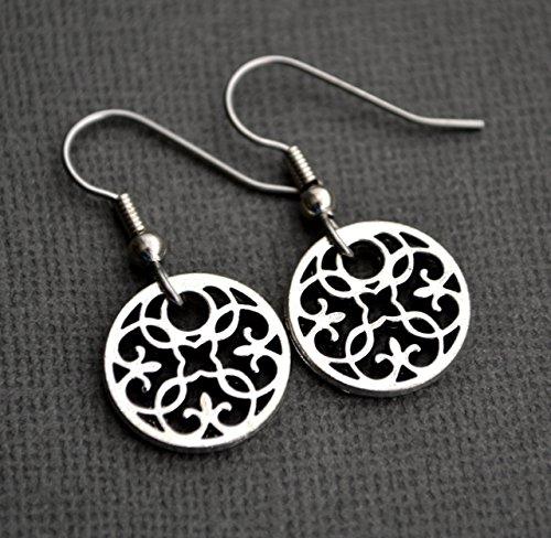 (Silver Scroll Flower Mandala Hoop Earrings)