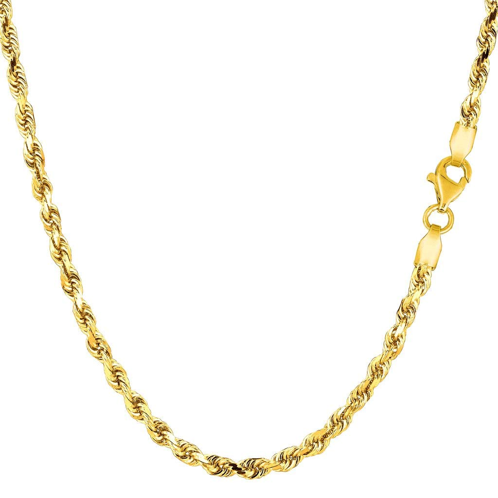 14K Yellow or White Gold 3.00mm Shiny Diamond-Cut Royal Rope Chain Necklace for Pendants and Charms with Lobster-Claw Clasp (7'', 8'', 16'', 18'', 20'' 22'', 24'' or 30 inch) by The Diamond Deal (Image #1)
