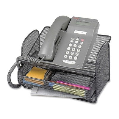 Safco Onyx Mesh Telephone Stand with Drawer - 7quot; Height x 11.8quot; Width x 9.3quot; Depth - Steel - Black - Onyx Telephone