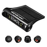 VETOMILE Wireless Tire Pressure Monitoring System TPMS Solar Power Universal with 4 External Cap Sensors LCD Real-time Display 6 Alarm Modes 4 Tires PSI Bar