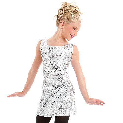 (Gia Mia Dance Girls' Big Sequin Tunic Dress, Silver Small)