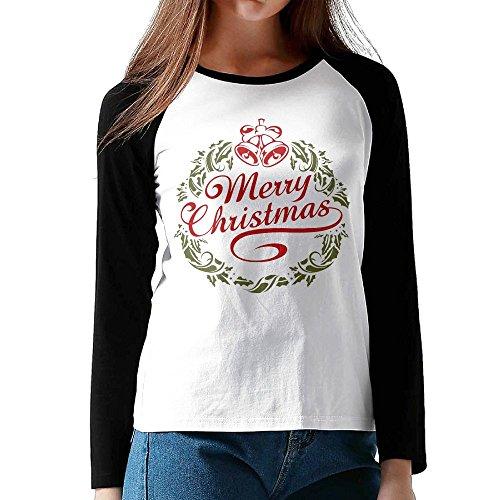 Haina Women's Cotton Merry Christmas1 Jersey Raglan T-Shirts Long Sleeve Shirt XL