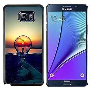 KLONGSHOP // Cubierta de piel con cierre a presión Shell trasero duro de goma Protección Caso - Sunset Idea Bombilla Idea Clever - Samsung Galaxy Note 5 5th N9200 //