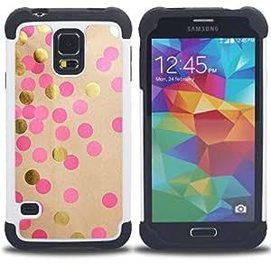 Jordan Colourful Shop - Polka Dot Paper Art Shiny Pink Dots For Samsung Galaxy S5 I9600 G9009 G9008V - < Llevar protecci????n de goma del cuero cromado mate PC spigen > -