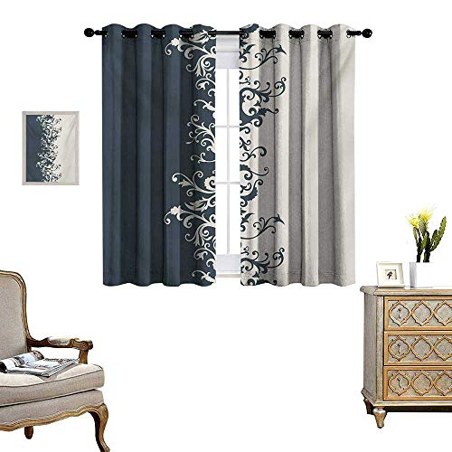 Vintage Floral Thermal Insulating Blackout Curtain Antique Ornament in Floral Style Old Fashion Curls Baroque Revival Patterned Drape for Glass Door W55 x L63 Charcoal Grey Beige ()