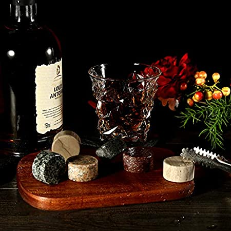 Whisky Stones, Whisky Glass Gift Set, Large Whiskey Rocks Stilling Stones, Coasters Stones & Bar Glasses in Handmade Wood Box– Cool Drinks With Dilution-Glasses Set de 2, para papá, esposo, hombres