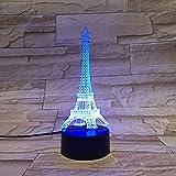 LE3D 3D Optical Illusion Desk Lamp/3D Optical Illusion Night Light, 7 Color LED 3D Lamp, Eiffel Tower 3D LED For Kids and Adults, Longest Tower in Paris Light Up