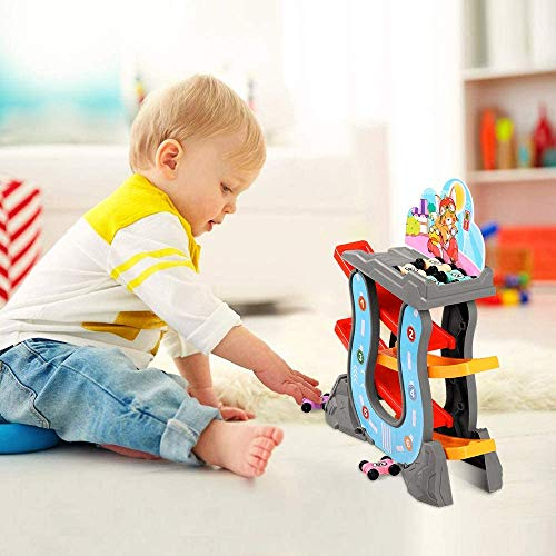 DeeXop Car Ramp Toys for 1 2 3 Year Old Boy Girl Birthday Presents-Toddler Montessori toys -Baby Toys 12 18 Months Educational Learning Gift-Kids Car Garage Race Track with 6 Mini Cars