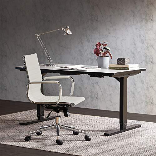 - Belleze Mid-Back Ribbed Upholstered Leather Swivel w/Arm Conference Chair, White