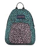 JanSport Half Pint Backpack Peacock Blue Leopard Life