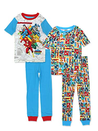 (Justice League Boy's 2fer 4 Piece Short Sleeve Cotton Pajamas Set (10, Blue/Multi))