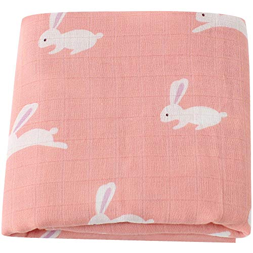 LifeTree Muslin Swaddle Blankets Girl, Bunny Print Baby Girls Blanket, 70% Bamboo 30% Cotton, 47