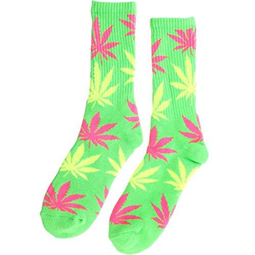 HUF Men's Neon Plantlife Socks, Green, One Size