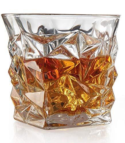 (Set of 2 Diamond Glasses - Luxury Elegant Whiskey Glasses The Wine Savant New Style Old Fashioned Drink Glasses - Glassware set - Scotch Brandy or Bourbon Tumblers, 12 oz.)