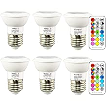 Yangcsl Dimmable LED Color Changing Light Bulbs with Remote, RGB + Daylight White, 45° Beam Angle and Memory, E26 3W Mood Ambiance Lighting ( 6 Pack )